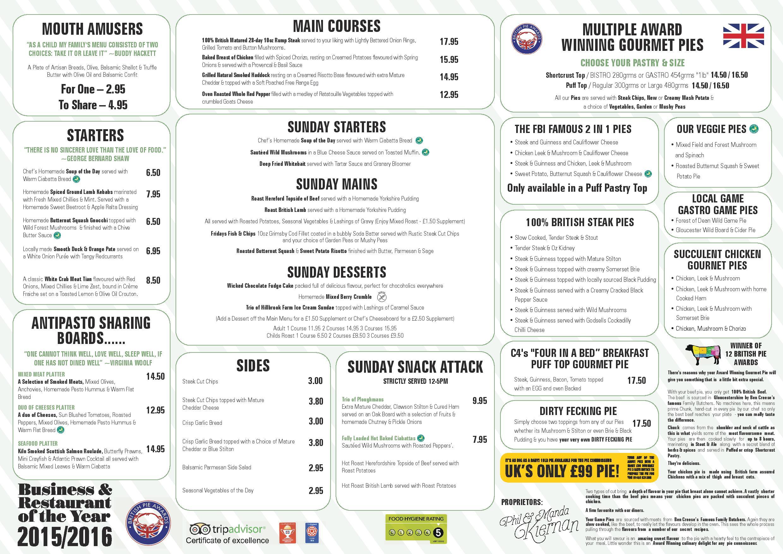 Sunday menu award winning gloucester restaurant