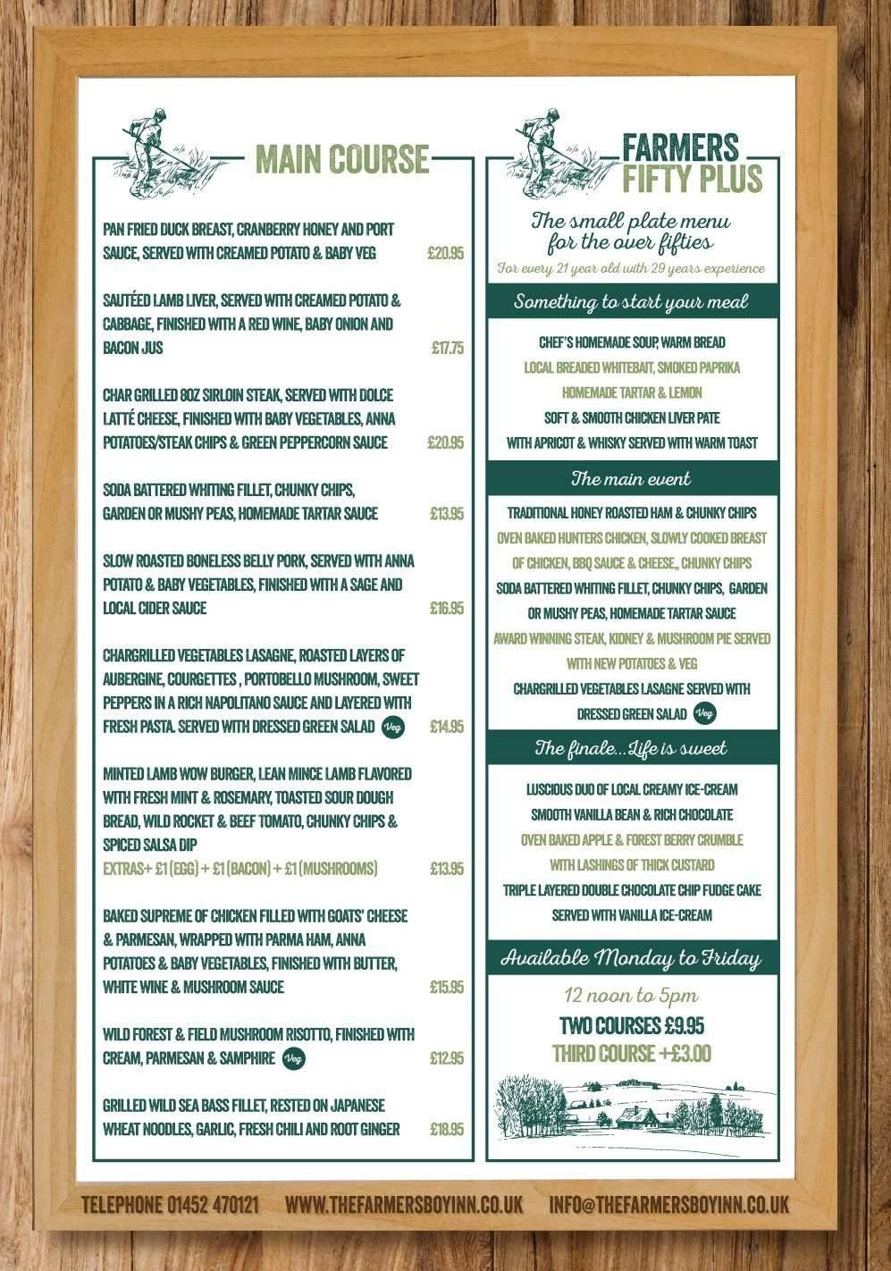 Restaurant Menu | Places To Eat In Gloucestershire